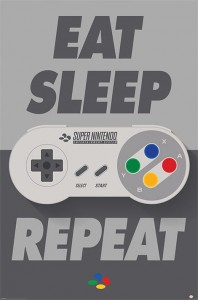 Plakat Maxi Eat Sleep SNES Repeat - Nintendo